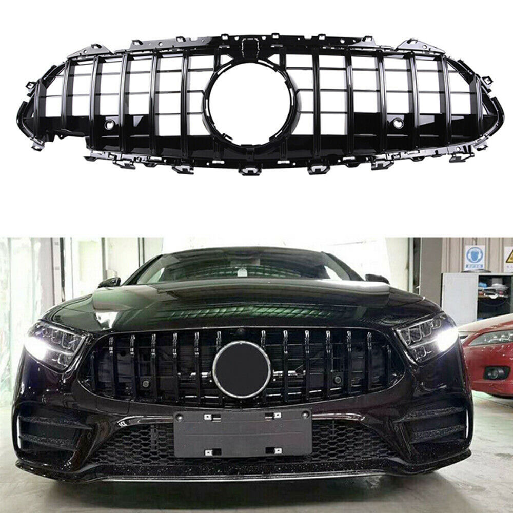 Black Front Grille Grill W/Camera 2019- For Mercedes-Benz W257 C257CLS400 CLS450 CLS53 AMG