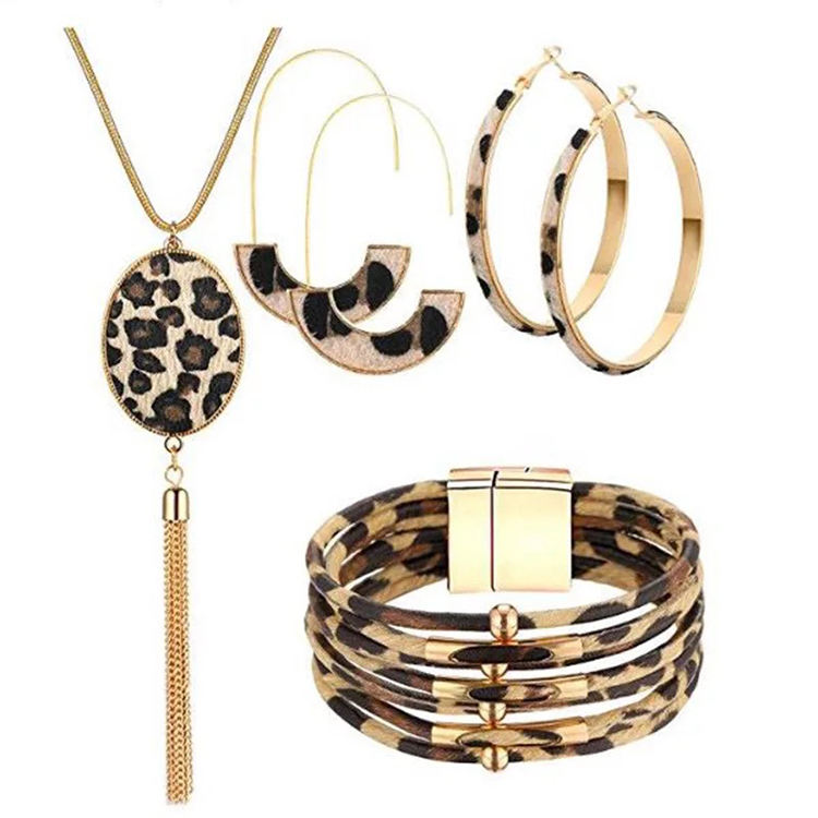 Fashion Design Gold Plated Leopard Necklace and Earring Western Sets of Sexy Jewelry Sets for Women