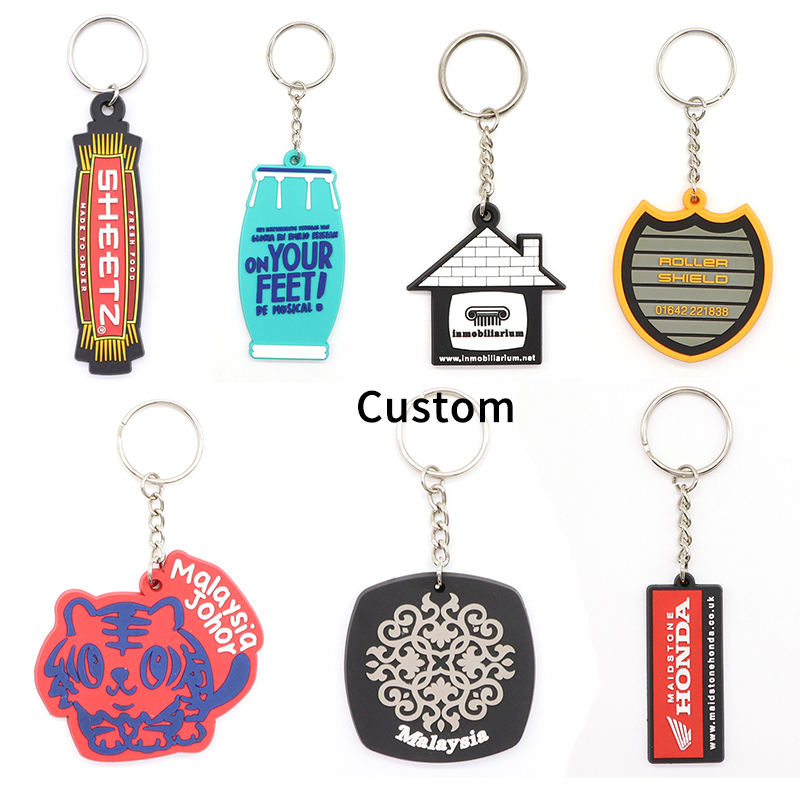 High Quality Custom Personalized Rubber Name Keyring 2d Soft Pvc Keychain For Promotion