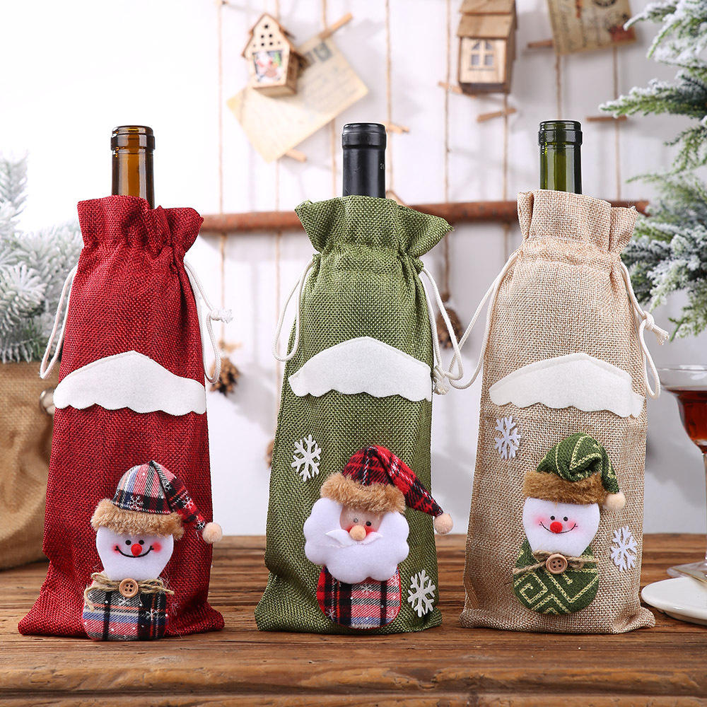 Christmas Wine Bottle Decor Set Santa Claus Snowman Deer Bottle Cover Clothes Kitchen Decoration for Year Xmas Dinner Party