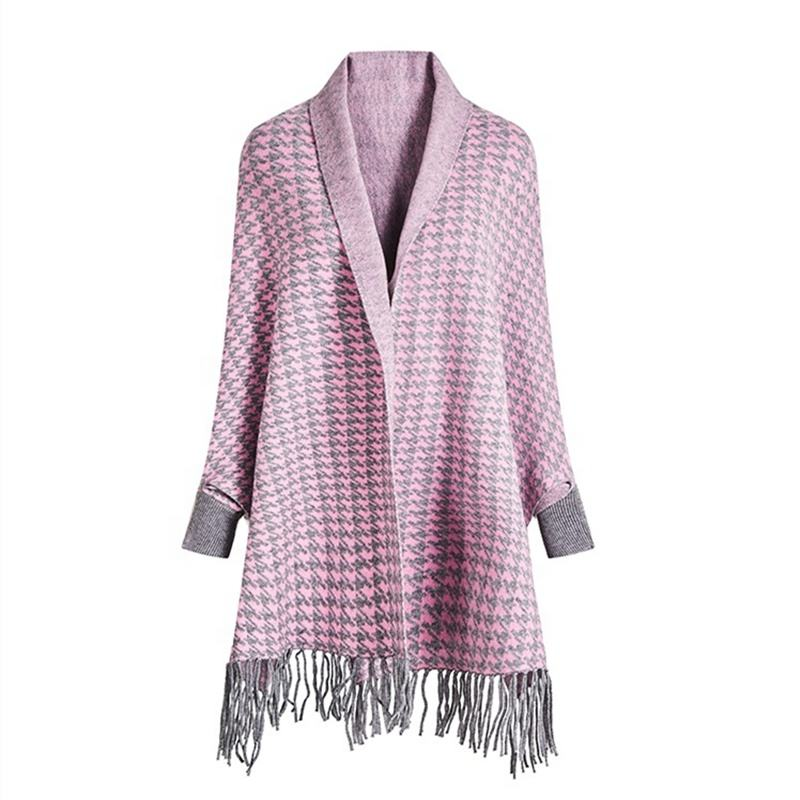 2020 New Style Hot Selling Winter Scarf Wrap Pink and Grey Poncho Shawl Women Cashmere Scarf Shawls