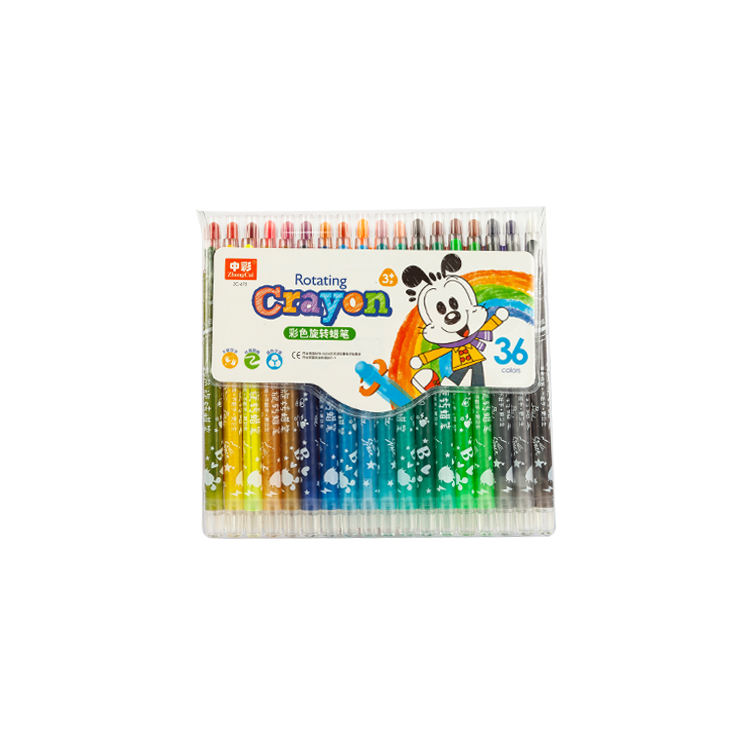 Custom Logo Kids Drawing Twist Retractable Cartoon Fabric Crayon Set