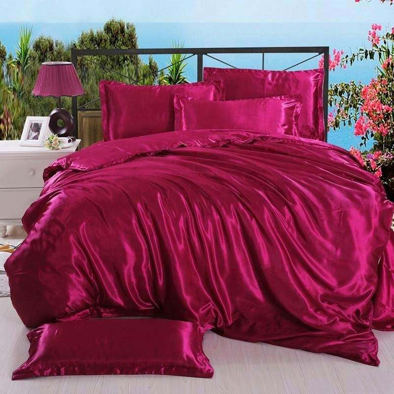 Luxus Super Soft Double King Size Rot Farbe Seidig Satin Bett Tröster Set