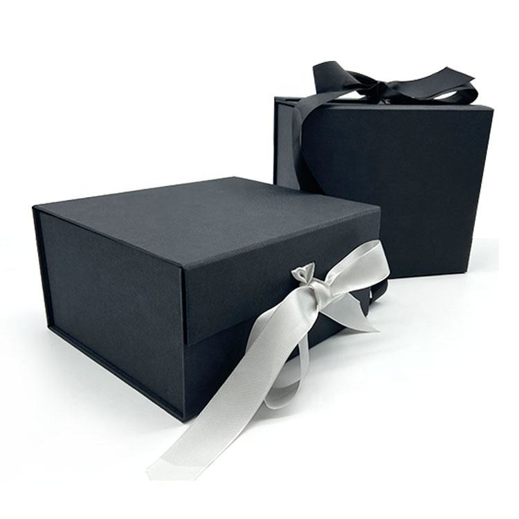 Custom Large Luxury Black Folding Sets Ribbon Paper Magnetic Foldable Packaging Gift Box