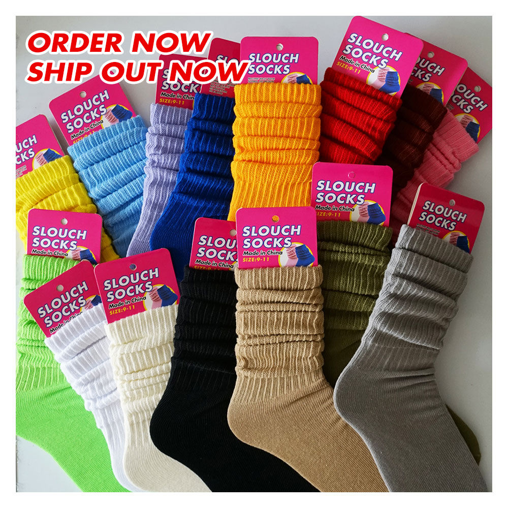 long slouch sox for women thick winter terry sole fluorescent color cotton crew women girls slouch socks