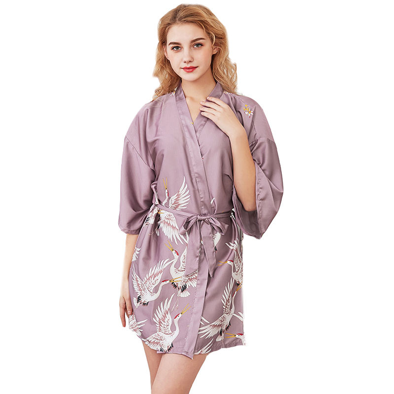 Silk crane pajamas female summer Middle sleeve bride morning robe large size home nightgown bathrobe
