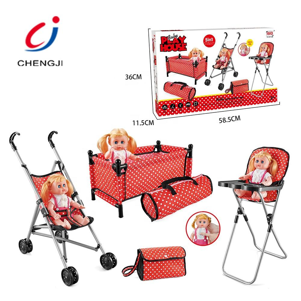 Kids Play House 5 In 1 Baby Doll Iron Stroller Foldable Doll Trolley Toy, Juguetes Play Role Baby Doll Play Set Toy