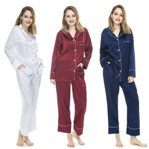 Sexy Women Pyjamas Long Sleeves Pijamas Christmas Satin Pajamas Sets