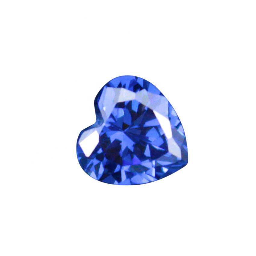 Hot Sale Synthetic Heart Shape Blue Color 6.5mm Cubic Zirconia Diamonds Stones for Jewelry Making