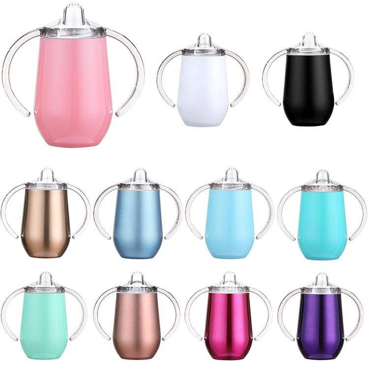 10oz Stainless Steel Baby Sippy Cup with Nozzle Egg Shape Tumbler with Double Handle