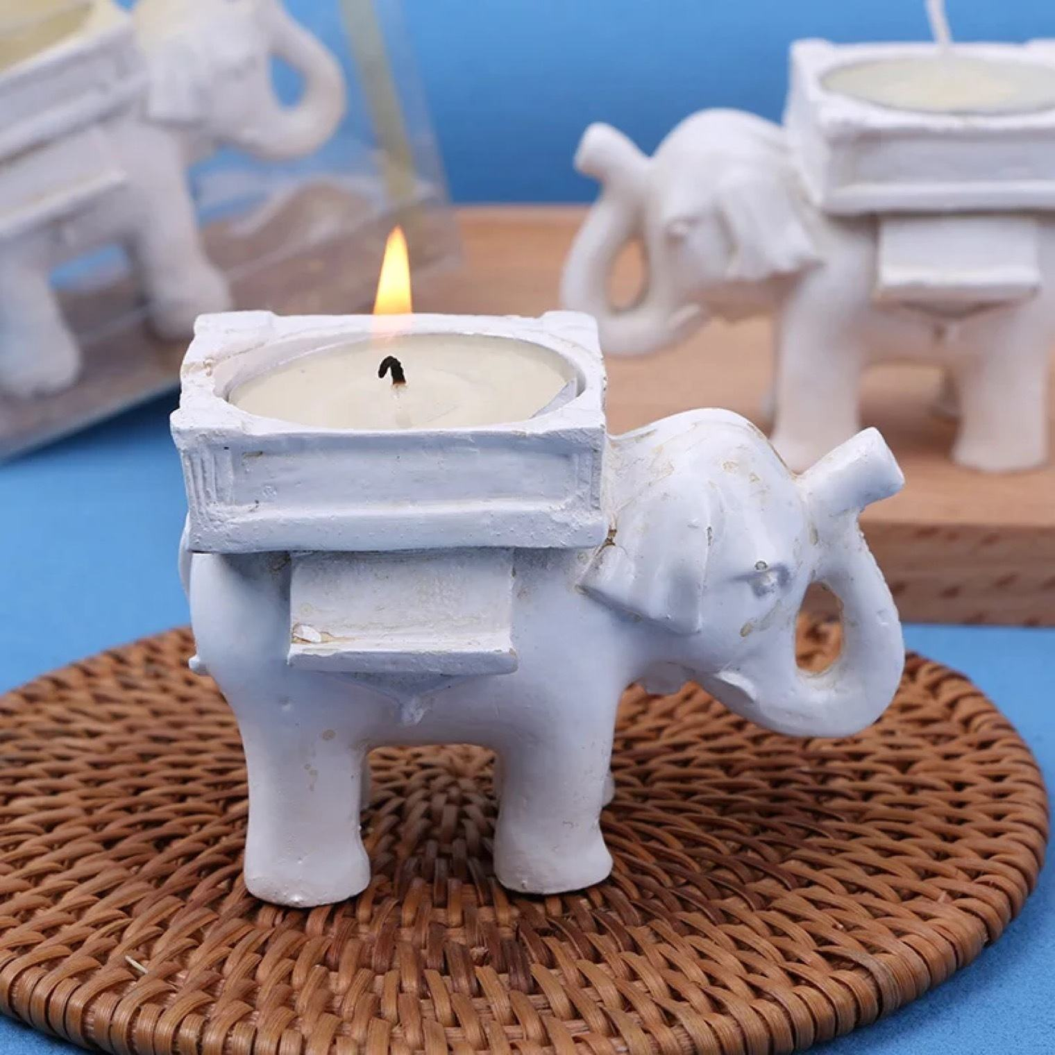 Decorative wedding centerpieces Gift Resin Elephant Votive Tealight Candle holder candlestick menorah