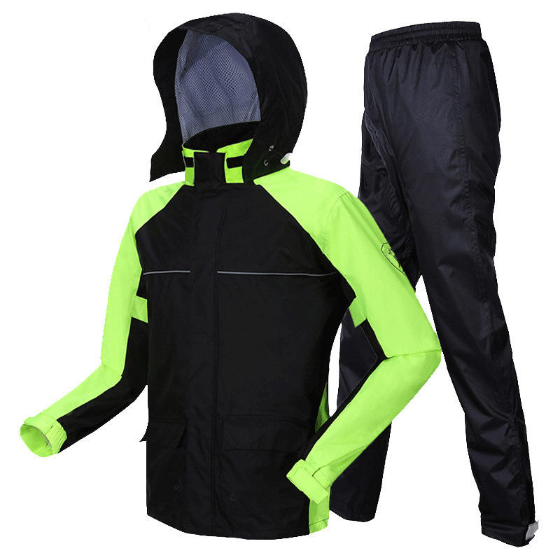 2021 Reflective Polyester Waterproof Rainsuit Workwear Wholesale Breathable Riding Motorcycle Adult Rain Coat For Motocross
