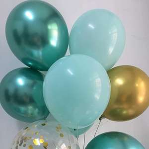 Metallic Green Chrome Gold confetti Ballons for Birthday Baby Baptism Bridal Shower Wedding Graduation Party