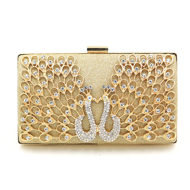 New 2019 Bling Bling gold Rhinestone Peacock women Wedding Banquet evening day Clutch Bag Bridal purse