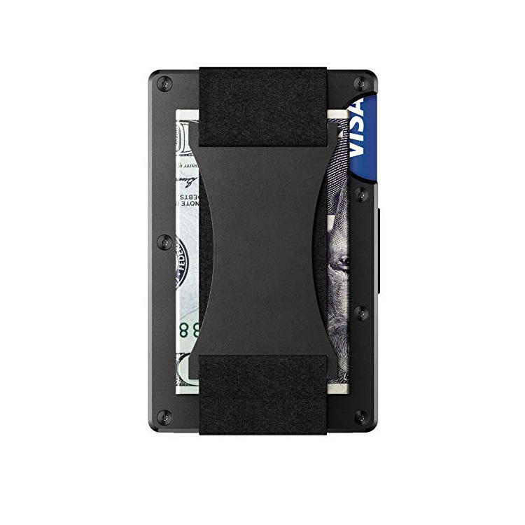 Manufacture wholesale cheap hot sell hardware wallet black metallic credit card holder ultra-thin atm card holder for men