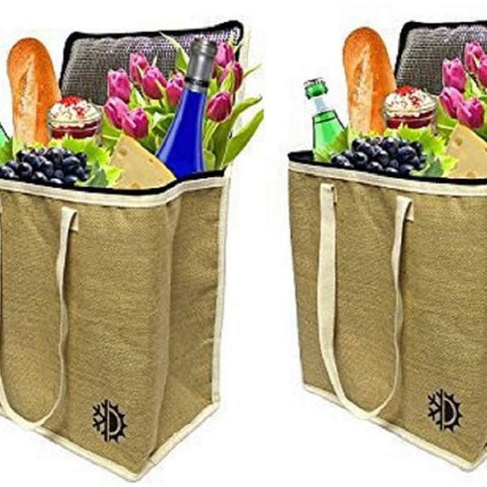 Amazon Hot Large Jute Shopping Grocery Whole Food Lunch Insulated Cooler Bag