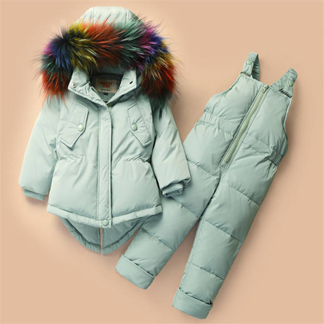 Baby down jacket suit children 1-2-3 - year - old baby thick warm baby winter clothing two sets