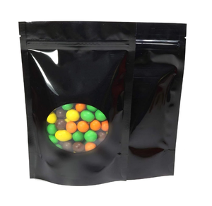 Custom Packaging Resealable Matte Stand Up Pouch Plastic Zip Lock With Window Black Mylar Bags