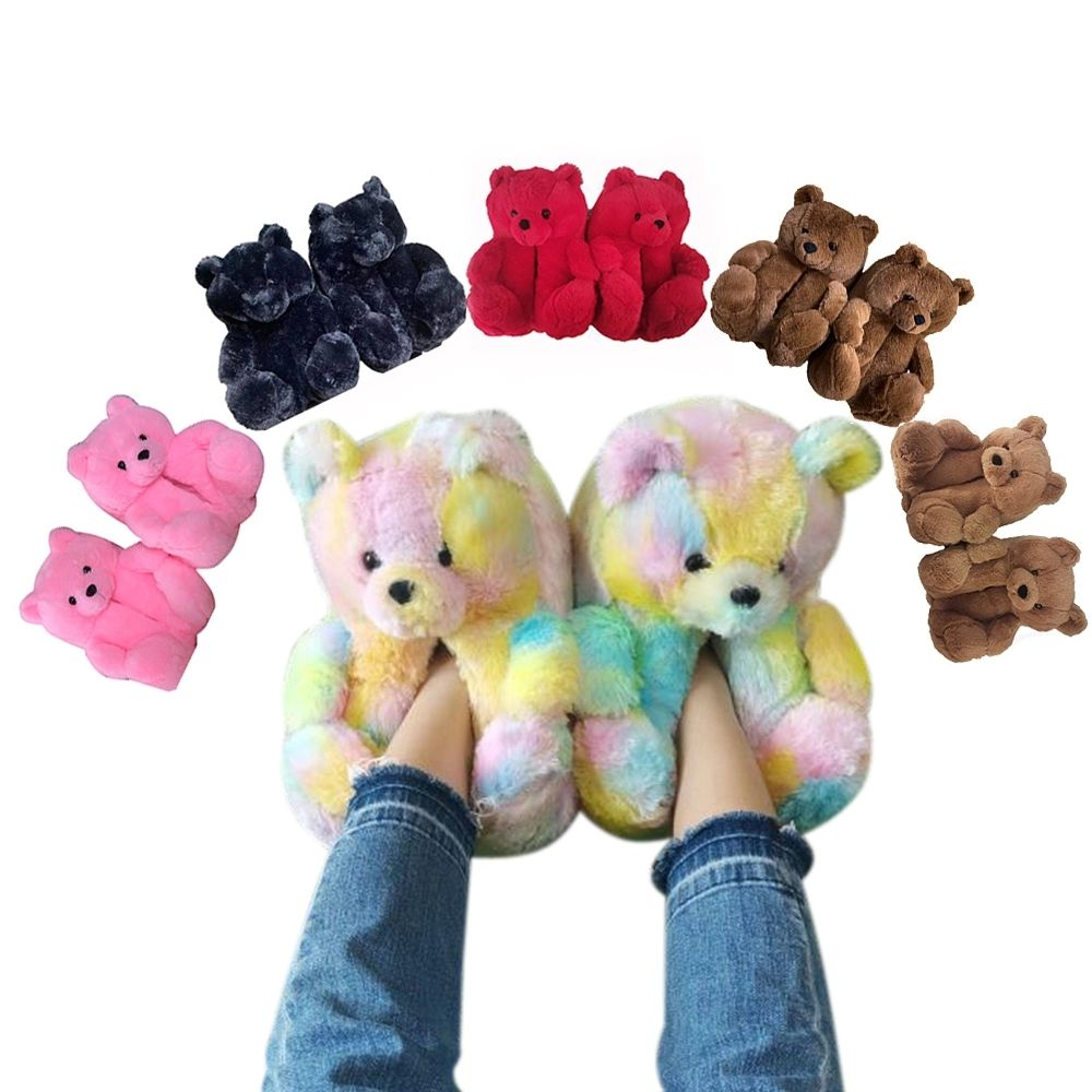 2021 New Designer Cheap Bear Slippers Fashion Indoor Lady Shoes Women Household Animal Fluffy Plush Slipper