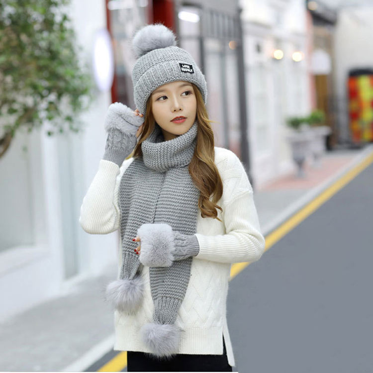 Custom logo wholesale winter 3 pieces knit winter scarf hat & glove for women sets