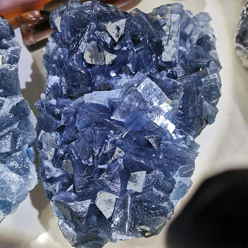 Natural Transparent Blue Cube Fluorite Associated With Pyrite Crystal Mineral Specimen for Decorate