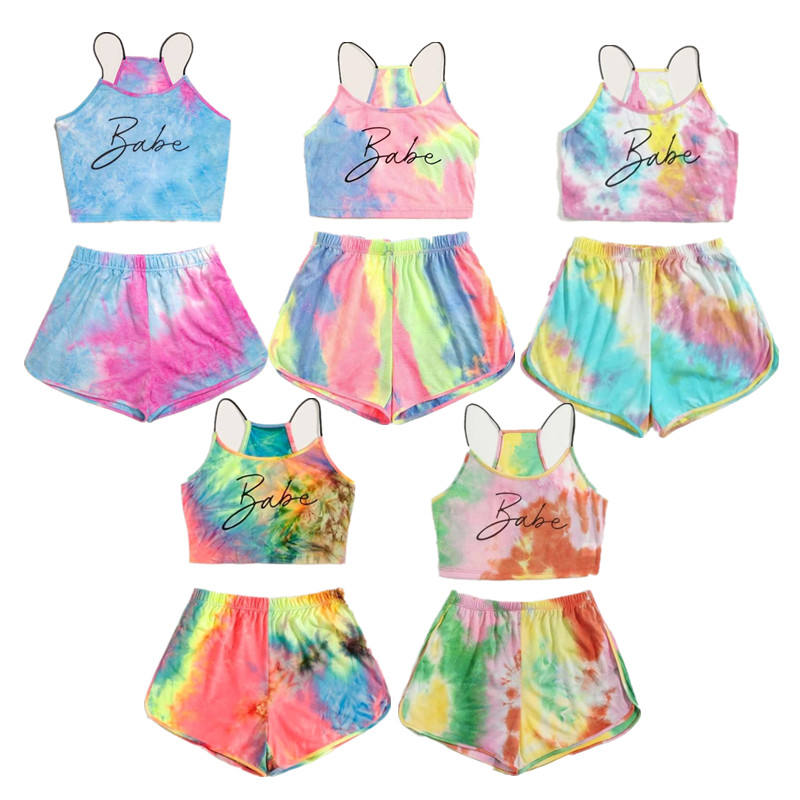 2021 Summer Tie Dye Babe Printing Top And Shorts Two Piece Set Womens Tie Dye Pajamas Sleepwear Set