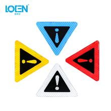 Auto Triangle Warning Label Reflective Warning Sticker Car Body Decorative Anti-collision Sticker For Motorbike Bicycle Helmet