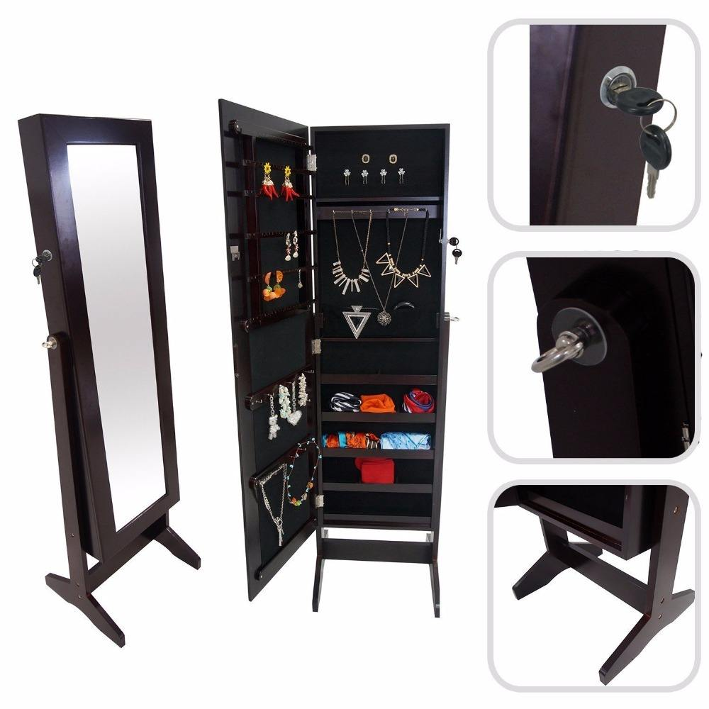 white oak cherry jewelry wardrobe with full length mirror