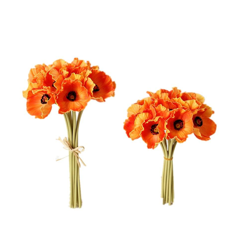 Korea Decorate Corn Poppy PU Flowers Bouquet Artificial Poppy Flower For 10Heads Flower Bunch Home Decor