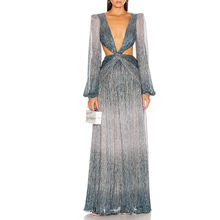 Long Sleeveless Cut out Gown Maxi Backless Beaded Evening Dress Gown