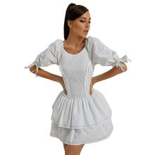 Elegant White Backless Strappy Girls' Dresses Polyester Birthday Party Skirt Confortable Daily Lounge Wear Women Casual Dresses