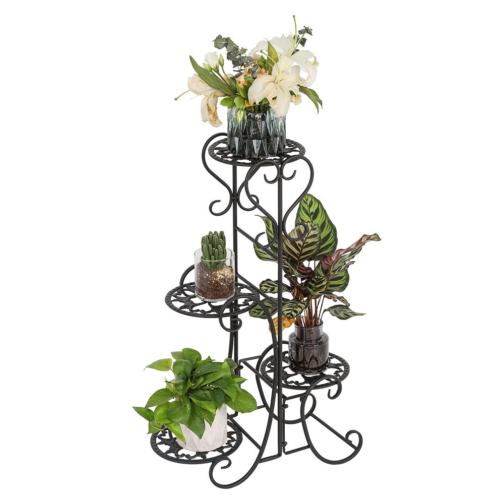 Free Shipping Indoor Outdoor Garden Black Decoration 4 Potted Rounded Wire Metal Shelves Flower Plant Pot Stand