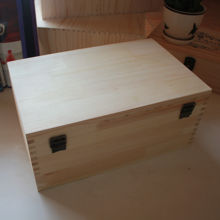 DIY Large Unfinished Wood Box with Hinged Lid and Front Clasp for Arts, Crafts, Hobbies and Home Storage