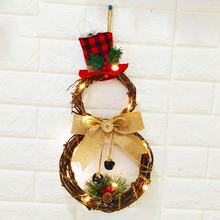 Christmas Halloween LED Wreath Hanging Decoration Household Wreath Wall Door Farmhouse Decor