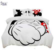 3D cartoon style duvet cover set micky mouse mickey miki minnie printed three pieces bedding set