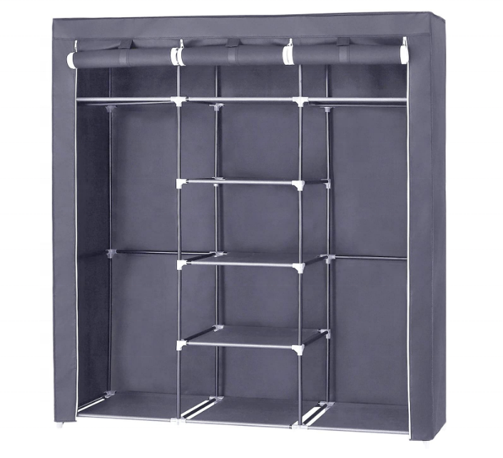 Folding Non-Woven Fabric Wardrobe with 2 Hanging Rods Portable Clothes Closet , 9 Storage Shelves Clothes Closet