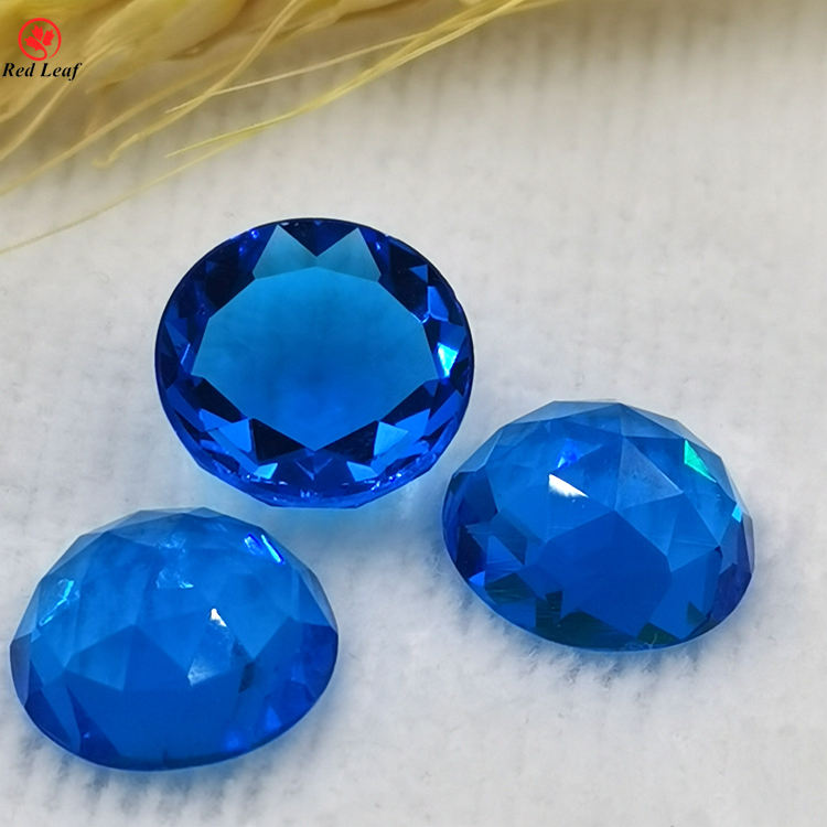 Wuzhou Gems Loose Crystal Aqua Blue Rose Cut Round Stone Synthetic Glass Gemstone