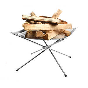 Outdoor Foldable and Portable Stainless Steel Fire Pit with Mesh