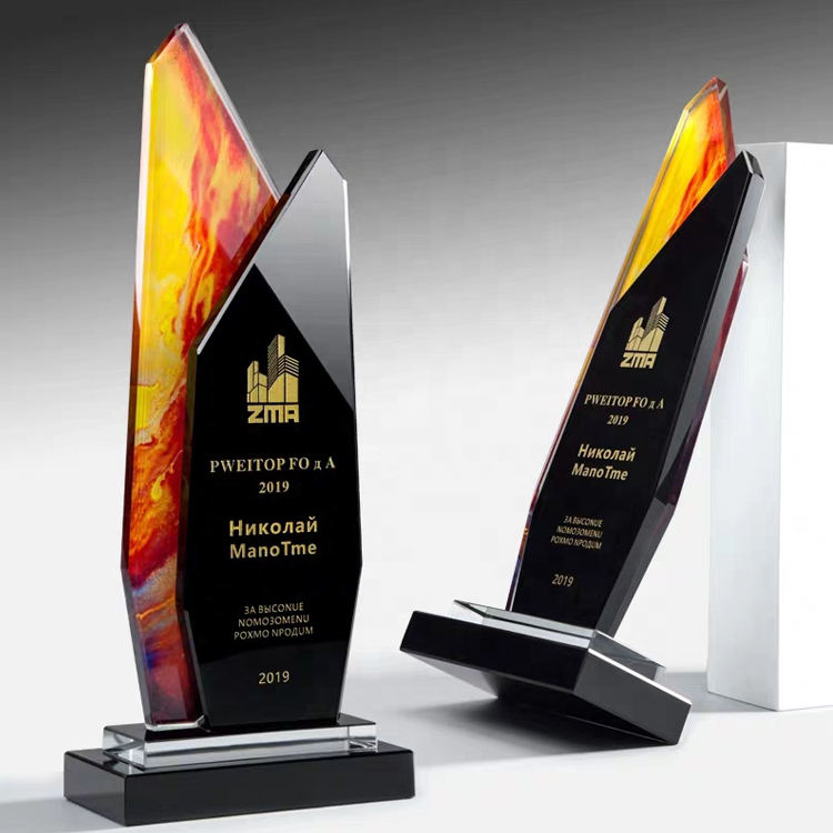 K9 Crystal Material High quality color printing crystal award glass trophy
