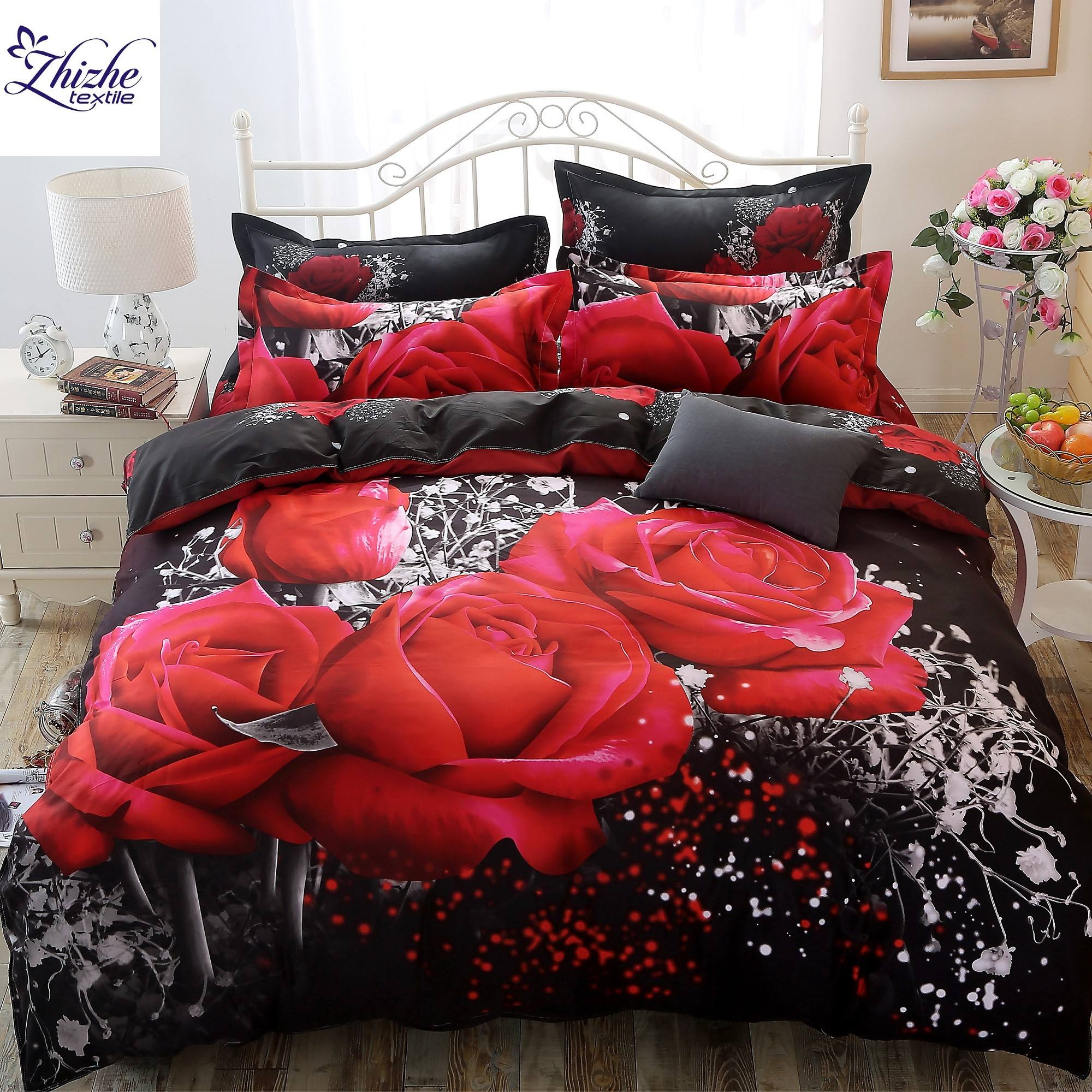 3D Style big red rose print polyester bedding set ready to ship