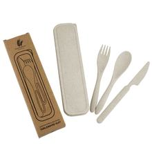 Hot selling Eco-friendly cutlery travel set biodegradable cutlery reusable wheat straw fiber flatware for picnic