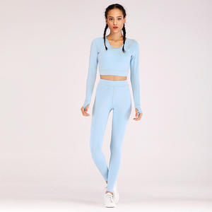6Color Long Sleeve Yoga Set Workout Clothes For Women Fashion Gym Sport Seamless Tops+Leggings 2PCS Beautiful Back Running Sets