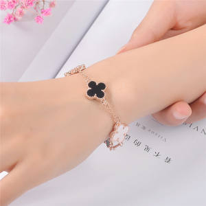 Fashionable flower bracelet four-leaf clover bracelet jewelry accessories Women Bangles Rose Gold Ladies Bracelet