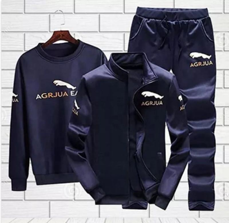 New Mens Sports 3 piece Tracksuit Pullover Joggers and Zipper Jacket