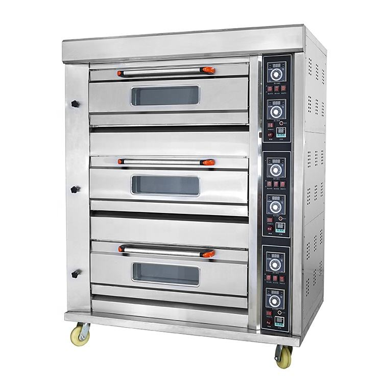 Top Astar Factory OEM 3 Deck Steam function Industrial Gas bread cake baking oven with timer
