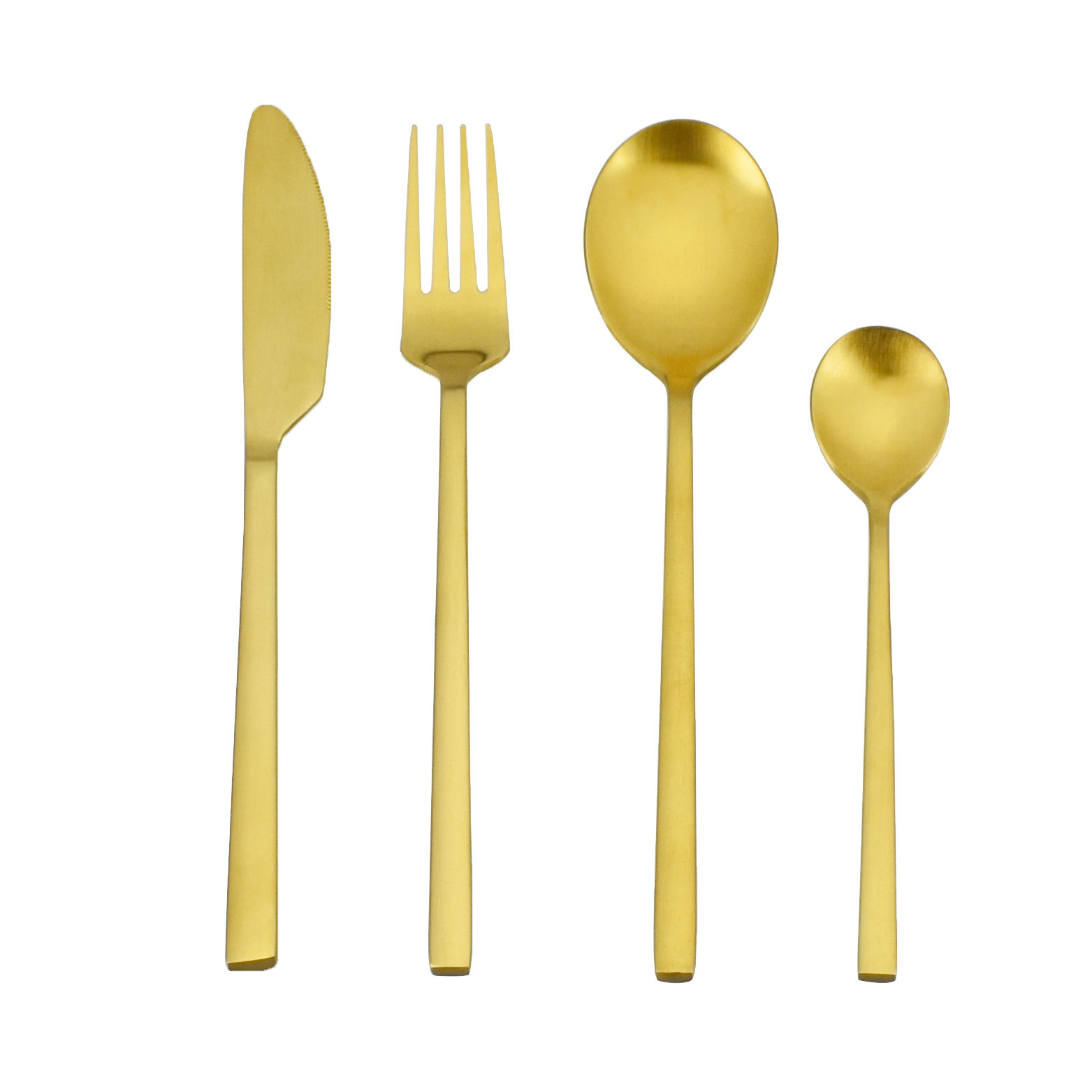 Factory Direct Luxury 4 pcs 304 Stainless Steel Flatware Set matte Gold Cutlery