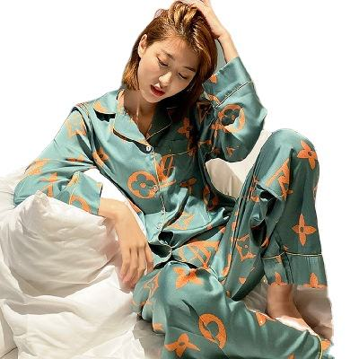 Plus Size Chinese Summer printing Silk Satin Women Long 5Xl Pajamas Sets Sleepwear
