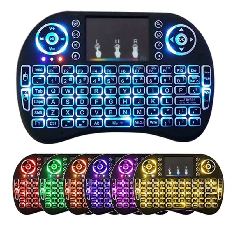 Rusia, Ibrani, Bahasa Inggris Original I8 Mini <span class=keywords><strong>Keyboard</strong></span> 2.4G Nirkabel Touchpad dengan 7 Warna Backlight Udara Remote 2.4G <span class=keywords><strong>Keyboard</strong></span>