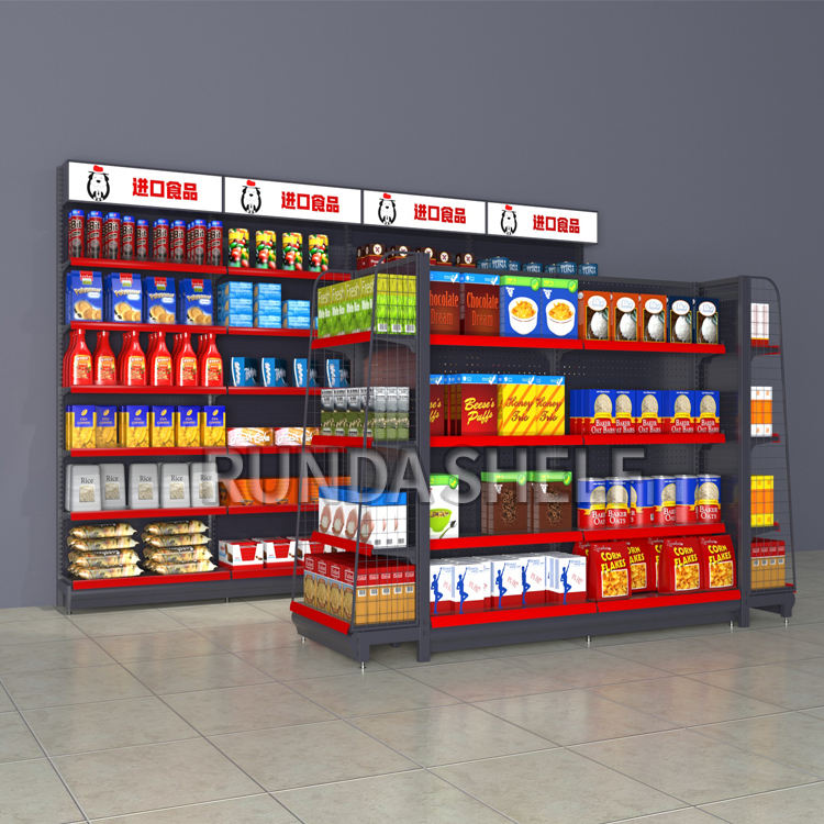 Runda supermarket equipment gondola shelving retail displays adjustable pharmacy shelves