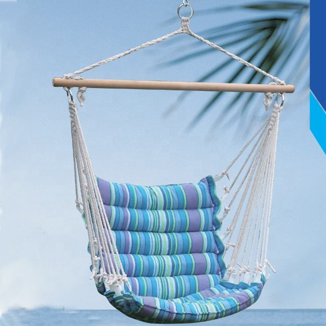 Outdoor Indoor Patio Garden Hammock Polyester Cotton Wooden Hanging Swing Chair